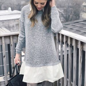 Sweater dress with faux hem
